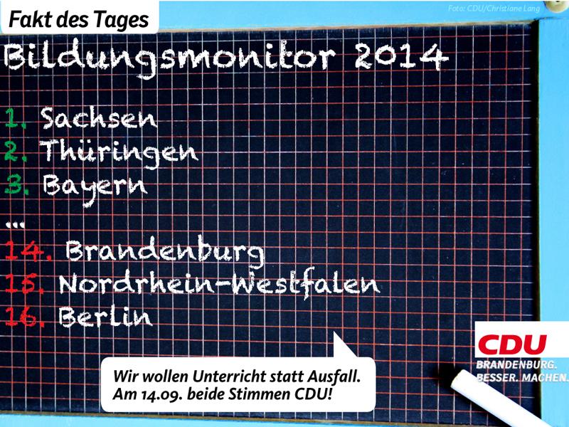 Brandenburgs Schulen liegen im Bildungsmonitor 2014 des Instituts der deutschen Wirtschaft bundesweit abgeschlagen auf Platz 14.